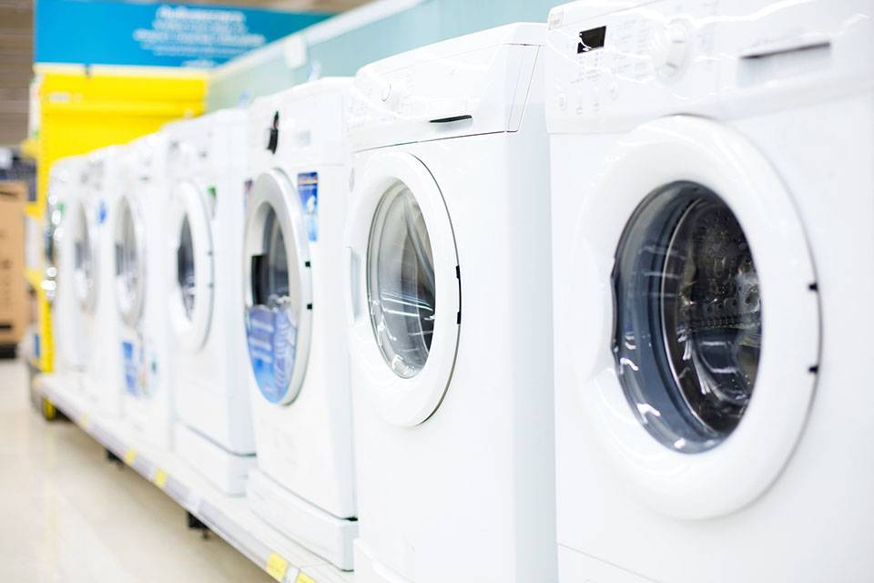 washing machines in a line
